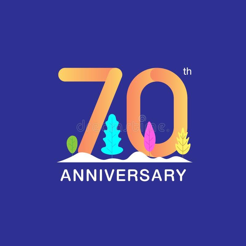 70 år årsdagberömlogotyp Flerfärgat nummer med det modern bladet och snöbakgrund Design för häftet, broschyr, royaltyfri illustrationer