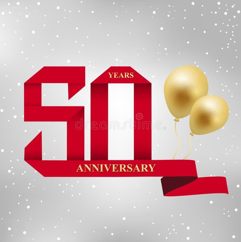 50 år årsdagberömlogotyp rött band för 50th årsårsdag och guld- ballong på grå bakgrund stock illustrationer