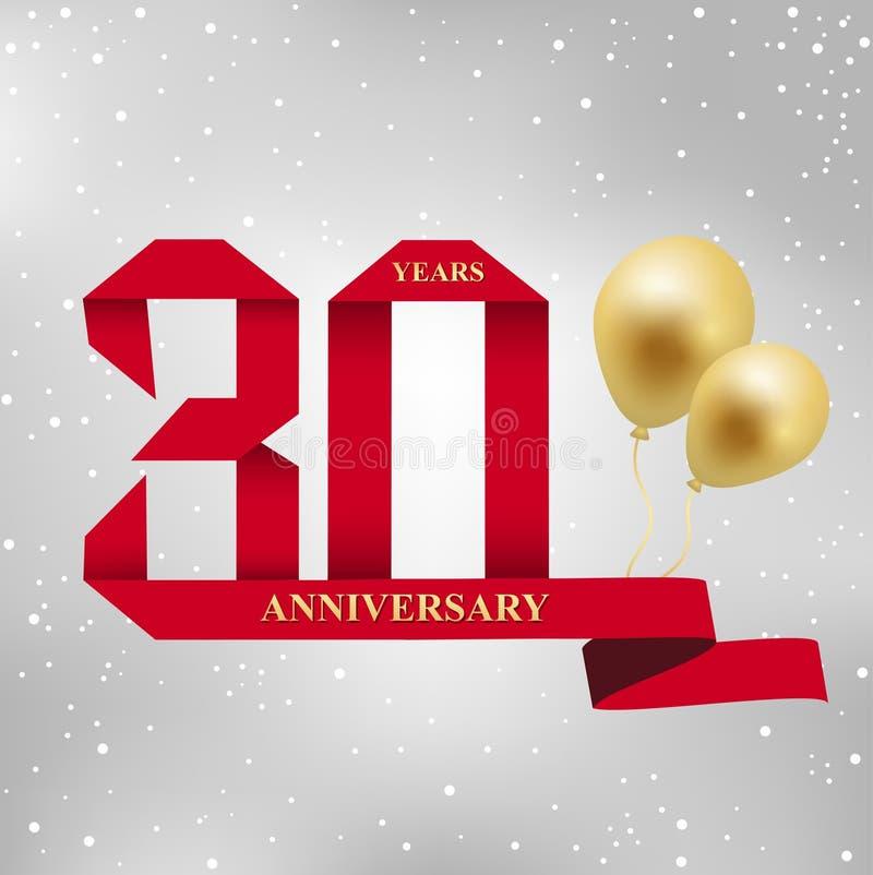 30 år årsdagberömlogotyp rött band för 30th årsårsdag och guld- ballong på grå bakgrund stock illustrationer