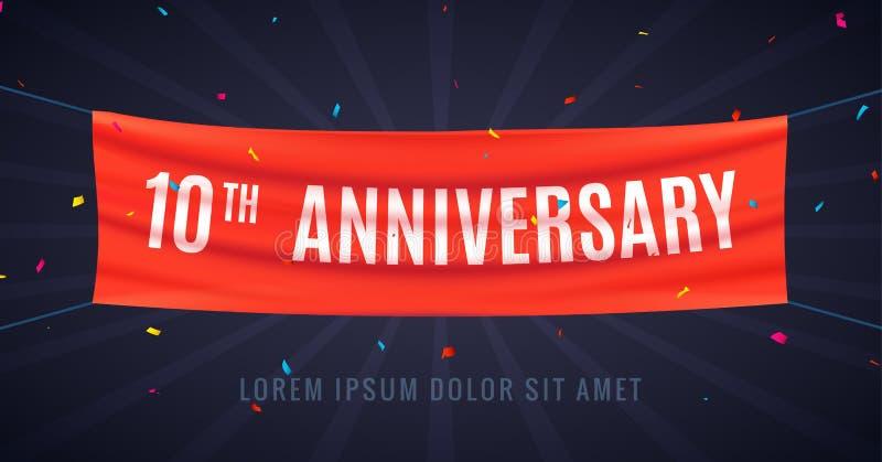 10 år årsdagdesignberöm Händelse 10th för parti för garnering för årsdag för röd flagga bithday royaltyfri illustrationer