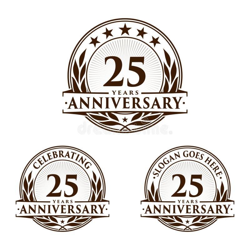 25 år årsdagdesignmall Årsdagvektor och illustration 25th logo royaltyfri illustrationer