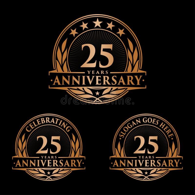 25 år årsdagdesignmall Årsdagvektor och illustration 25th logo stock illustrationer
