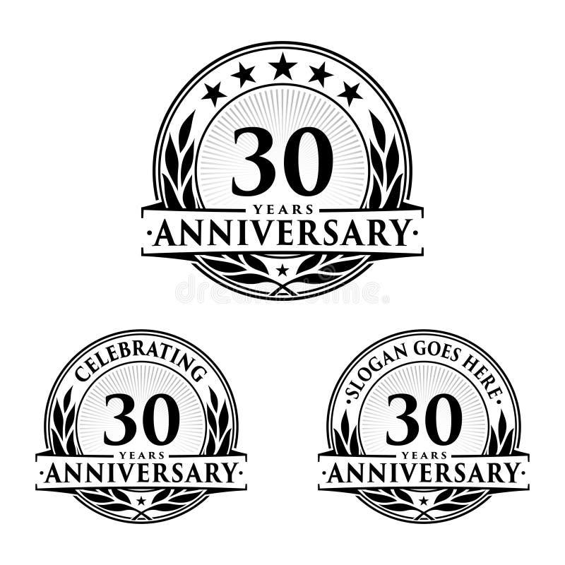 30 år årsdagdesignmall Årsdagvektor och illustration 30th logo royaltyfri illustrationer