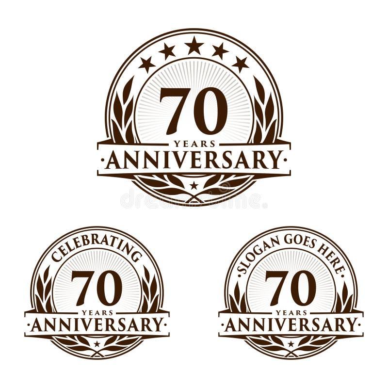 70 år årsdagdesignmall Årsdagvektor och illustration 70th logo stock illustrationer