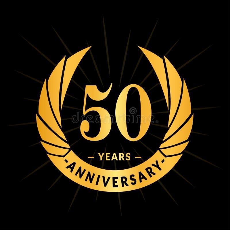 50 år årsdagdesignmall Elegant årsdaglogodesign Femtio år logo stock illustrationer