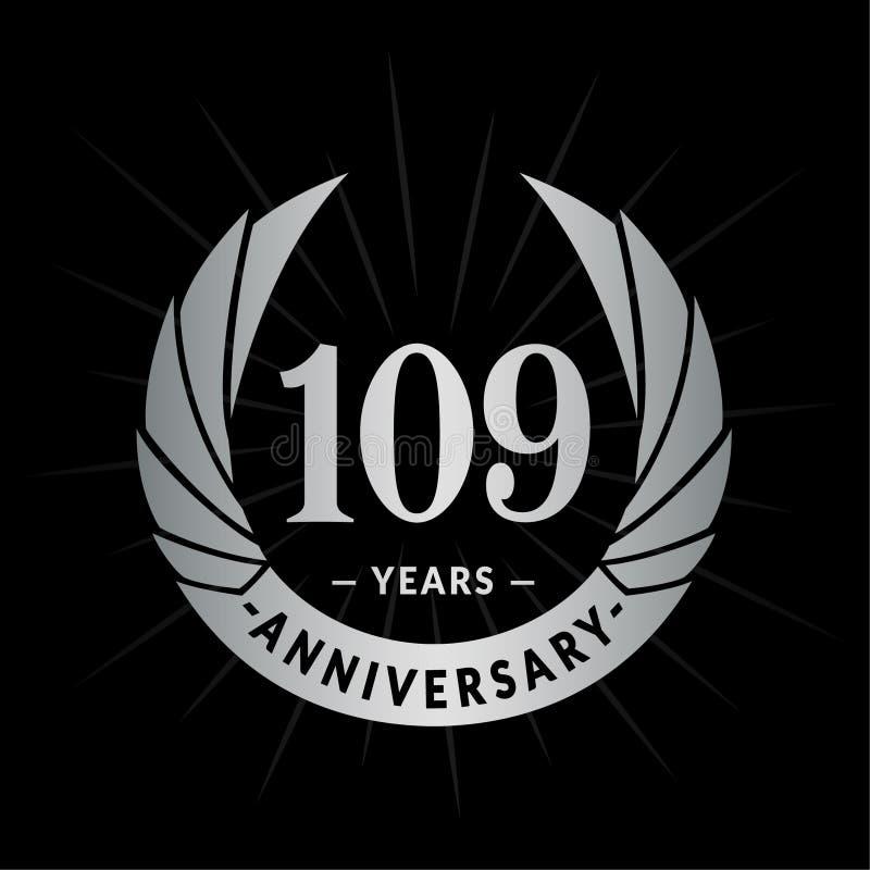109 år årsdagdesignmall Elegant årsdaglogodesign 109 år logo stock illustrationer
