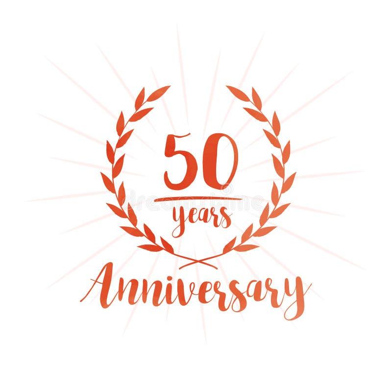 50 år årsdagdesignmall Femtio år årsdag som firar designmallen stock illustrationer