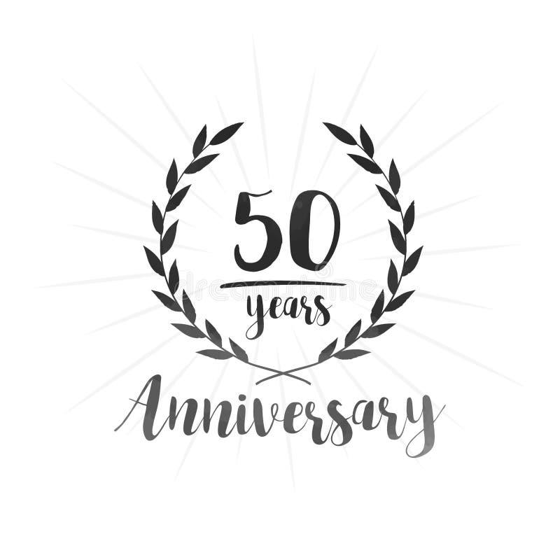 50 år årsdagdesignmall Femtio år årsdag som firar designmallen royaltyfri illustrationer