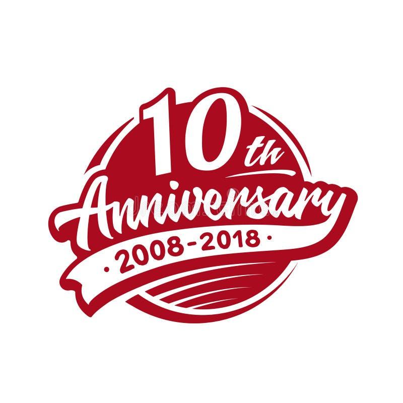 10 år årsdagdesignmall Vektor och illustration 10th logo vektor illustrationer