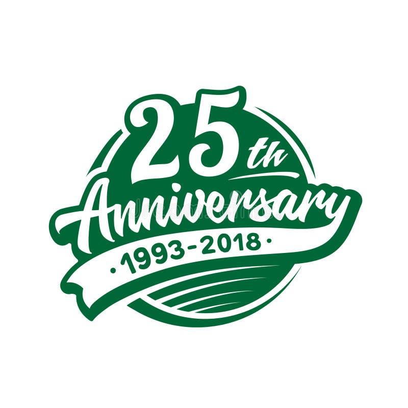 25 år årsdagdesignmall Vektor och illustration 25th logo royaltyfri illustrationer