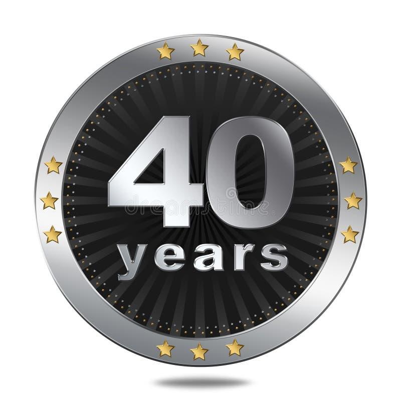 40 år årsdagemblem - silverfärg royaltyfri illustrationer