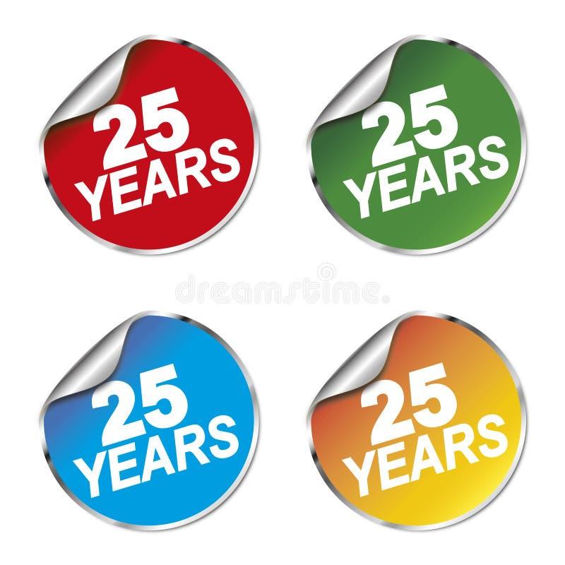 25 år årsdagklistermärke vektor illustrationer