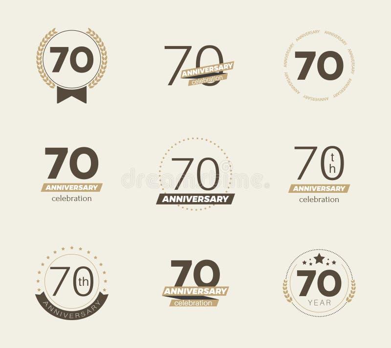 70 år årsdaglogouppsättning 70th årsdagsymboler vektor illustrationer