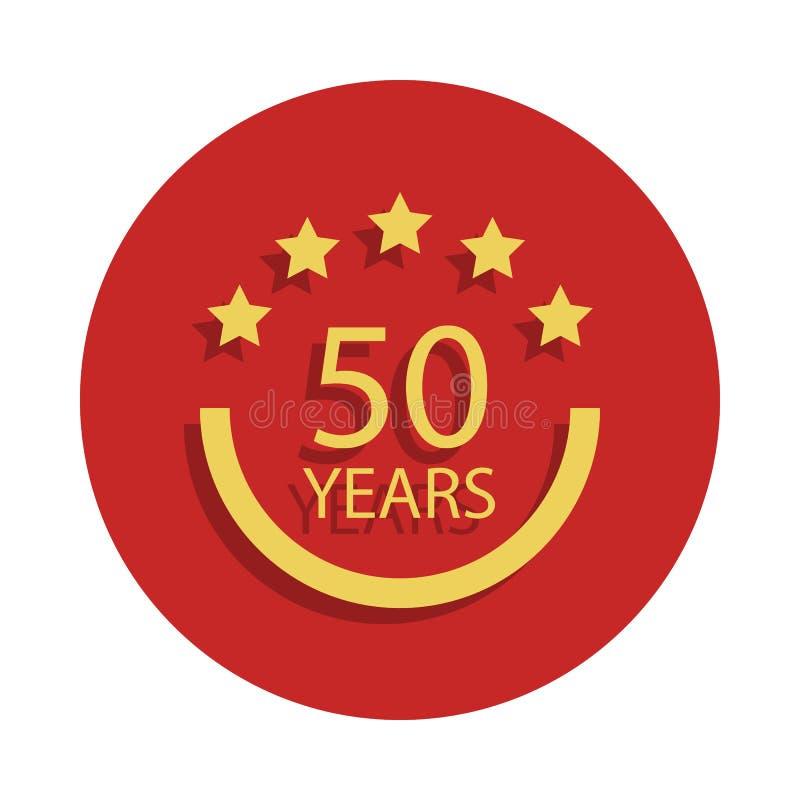 50 år årsdagtecken Beståndsdel av årsdagtecknet Högvärdig kvalitets- symbol för grafisk design i emblemstil En av årsdagsänkan stock illustrationer