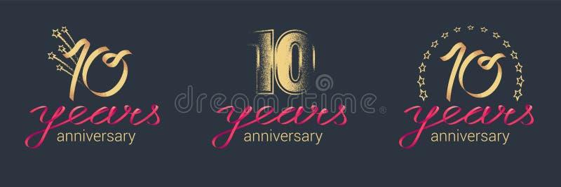 10 år årsdagvektorsymbol, logouppsättning royaltyfri illustrationer