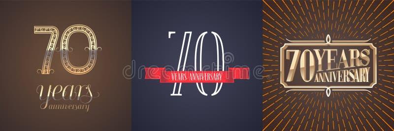 70 år årsdagvektorsymbol, logouppsättning vektor illustrationer