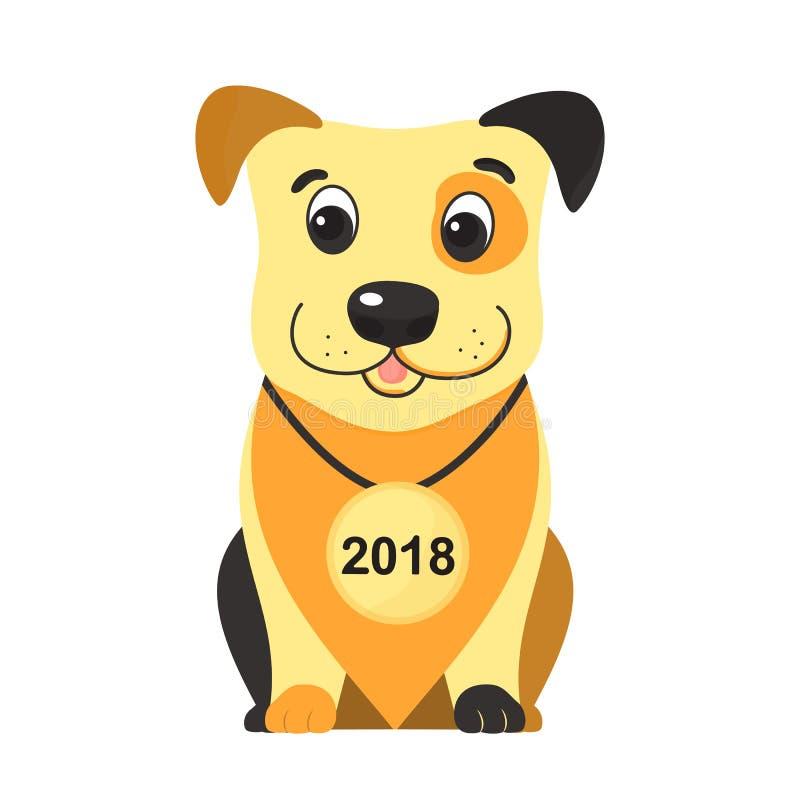År av den gula hunden på den kinesiska mån- kalendern 2018 stock illustrationer