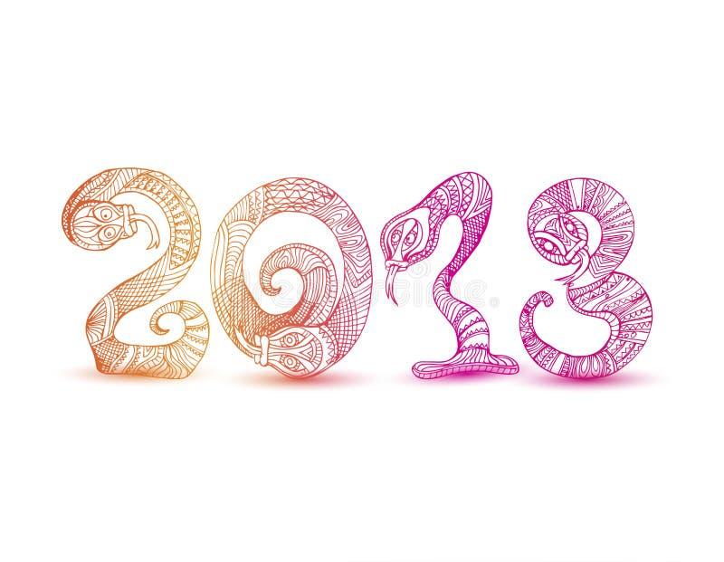 ?r av ormdesignen 2013 Original- kort f?r nytt ?r f?r vektor vektor illustrationer