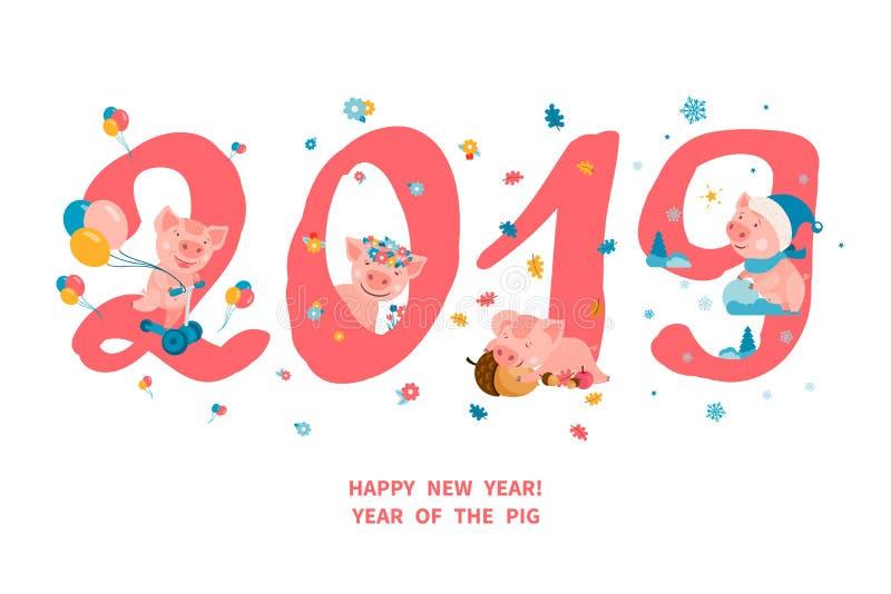 2019 år av SVINET stock illustrationer
