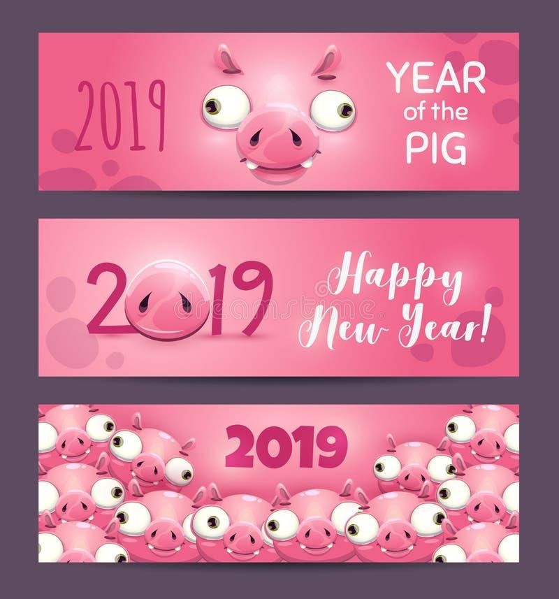 2019 år av SVINET Roliga rosa horisontalbaner för nytt år vektor illustrationer