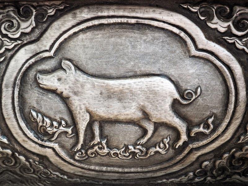 År av svinet - thailändskt zodiaktecken royaltyfria bilder