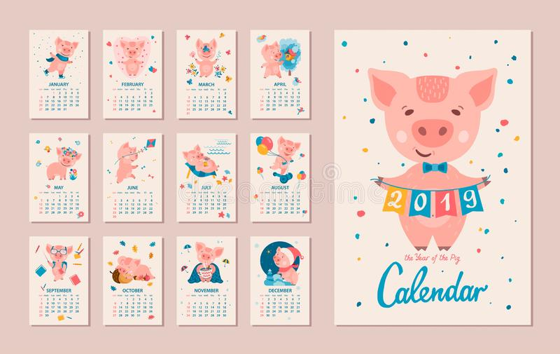 2019 år av SVINkalendern stock illustrationer