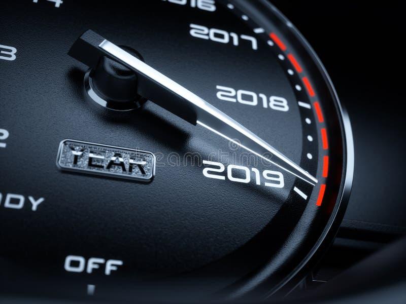 2019 år bilhastighetsmätare stock illustrationer
