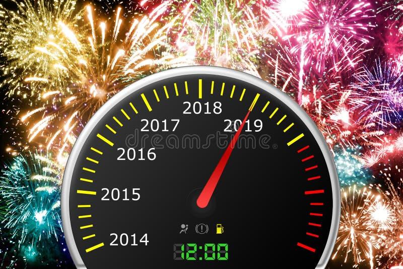 2019 år bilhastighetsmätare royaltyfri foto