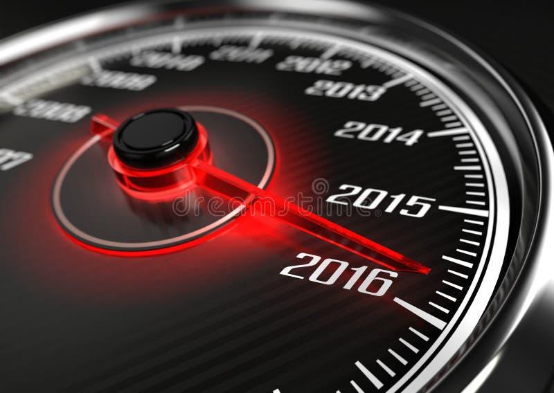 2016 år bilhastighetsmätare stock illustrationer