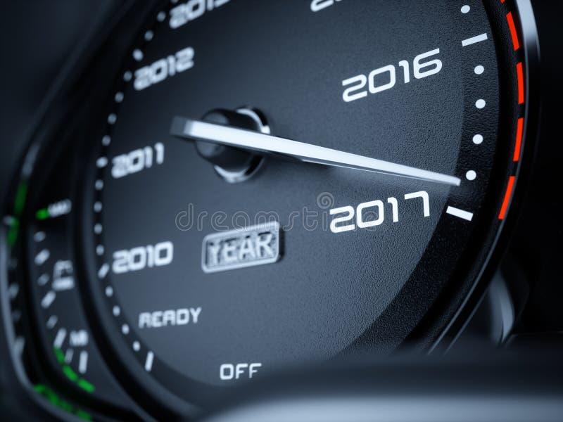 2017 år bilhastighetsmätare vektor illustrationer