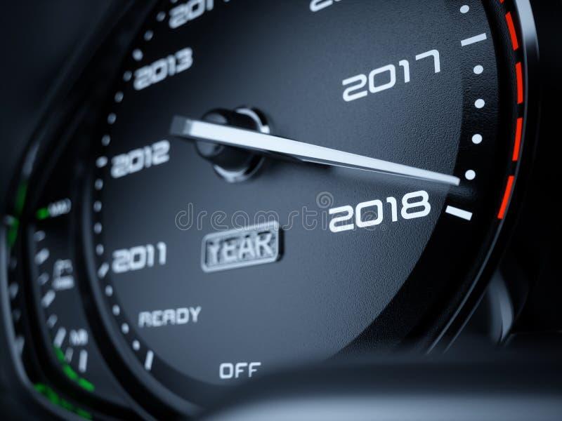 2018 år bilhastighetsmätare stock illustrationer