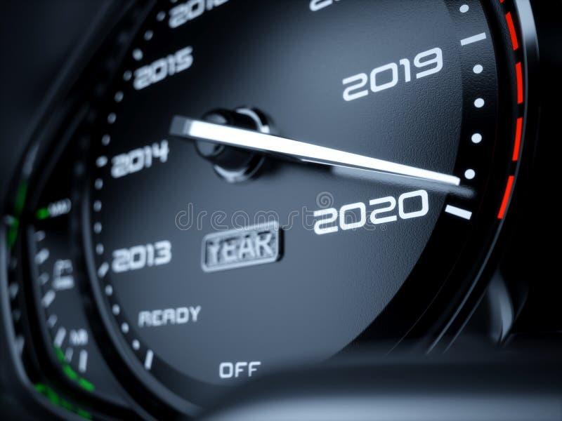 2020 år bilhastighetsmätare royaltyfri illustrationer