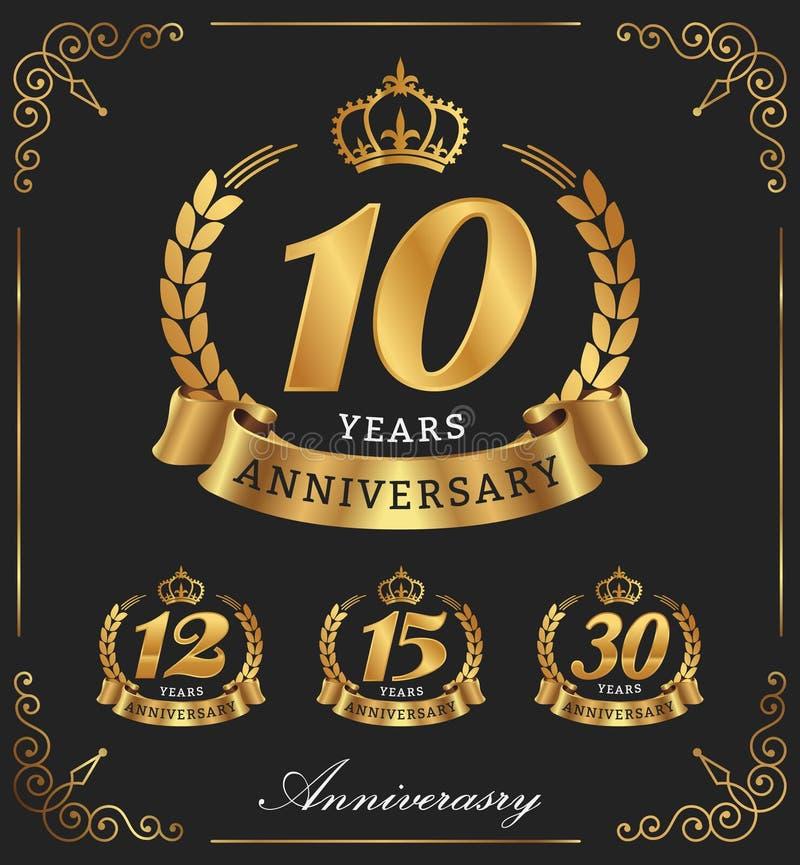 10 år dekorativ logo för årsdag stock illustrationer