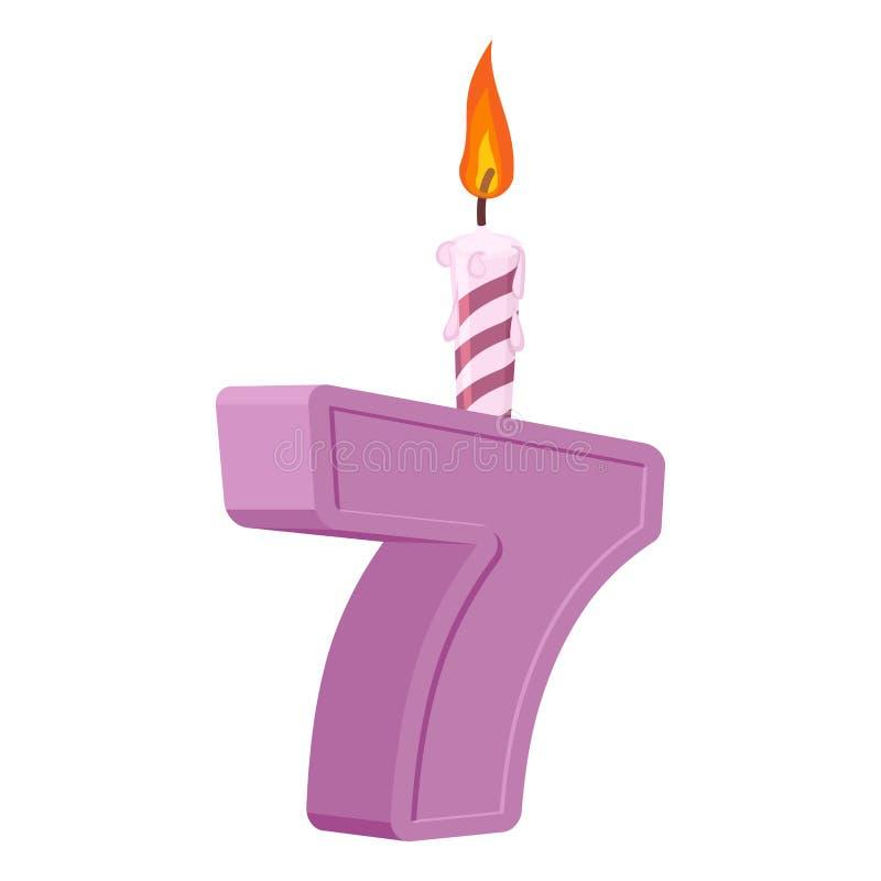 7 år födelsedag Nummer med den festliga stearinljuset för feriekaka S royaltyfri illustrationer