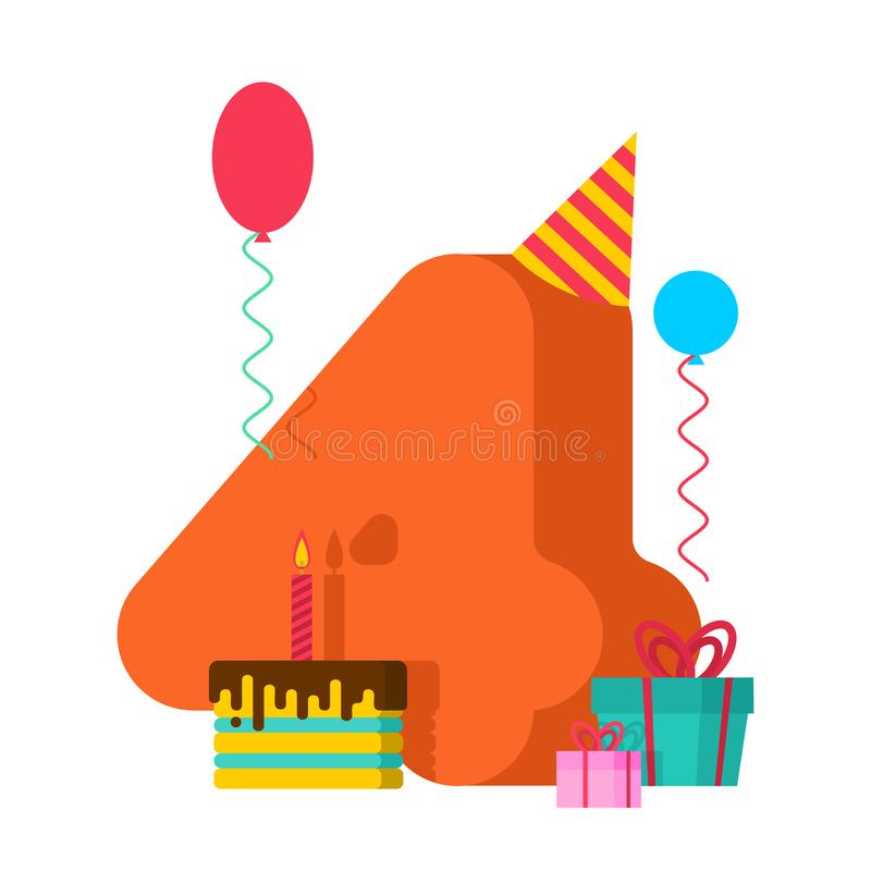 4 år födelsedagtecken 4th årsdag cel för mallhälsningkort vektor illustrationer