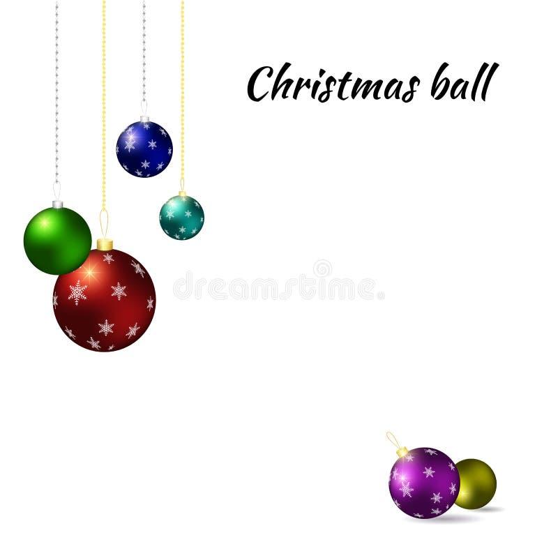 år för 2007 bolljul Mångfärgade julbollar på vit bakgrund vektor illustrationer