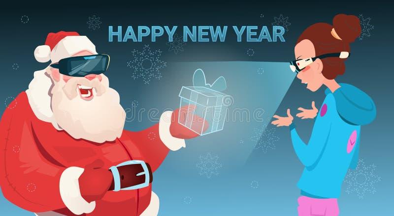 År för glad jul för gåva för Santa Claus Wear Digital Glasses Give kvinnavirtuell verklighet lyckligt nytt stock illustrationer