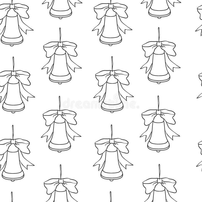 år för ny modell för jul seamless Vektorn semestrar svart vit bakgrund med klockor för hälsningkortdesign och vektor illustrationer