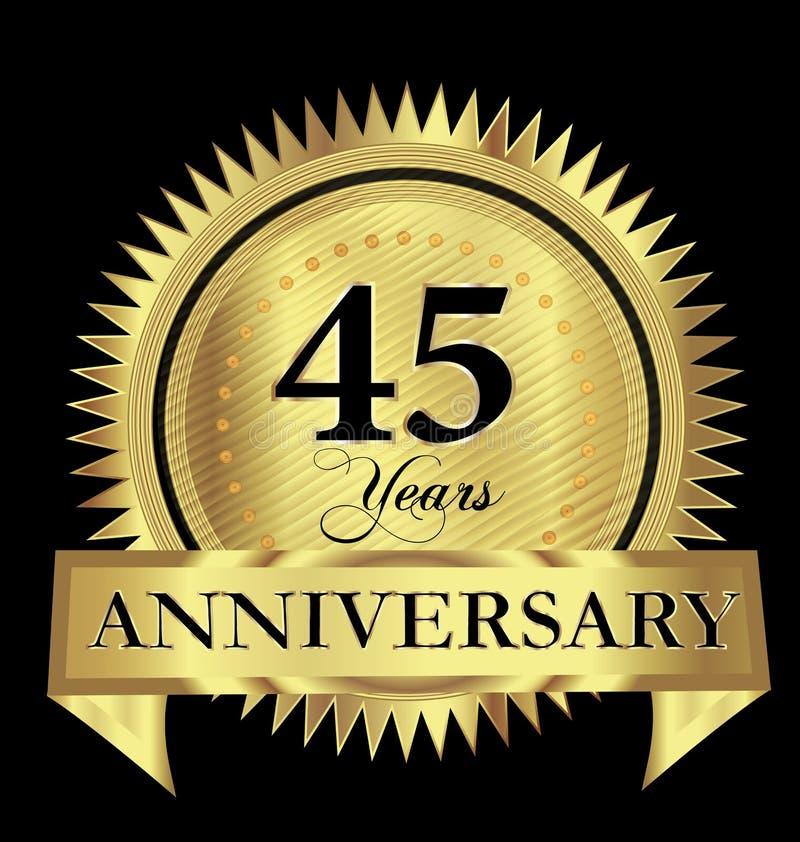 45 år för skyddsremsalogo för årsdag guld- begrepp för symbol för design för vektor royaltyfri illustrationer