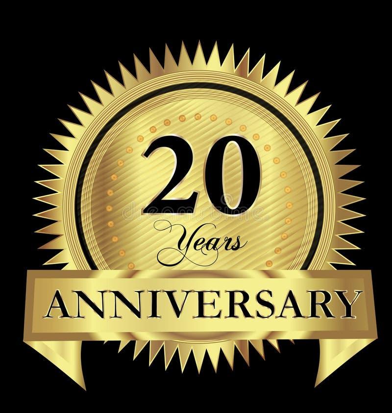 20 år för skyddsremsalogo för årsdag guld- design för vektor stock illustrationer