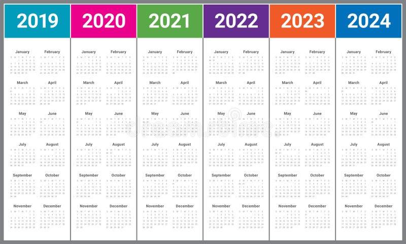 År 2019 2020 2021 2022 2023 för vektordesign för 2024 kalender templa royaltyfria bilder