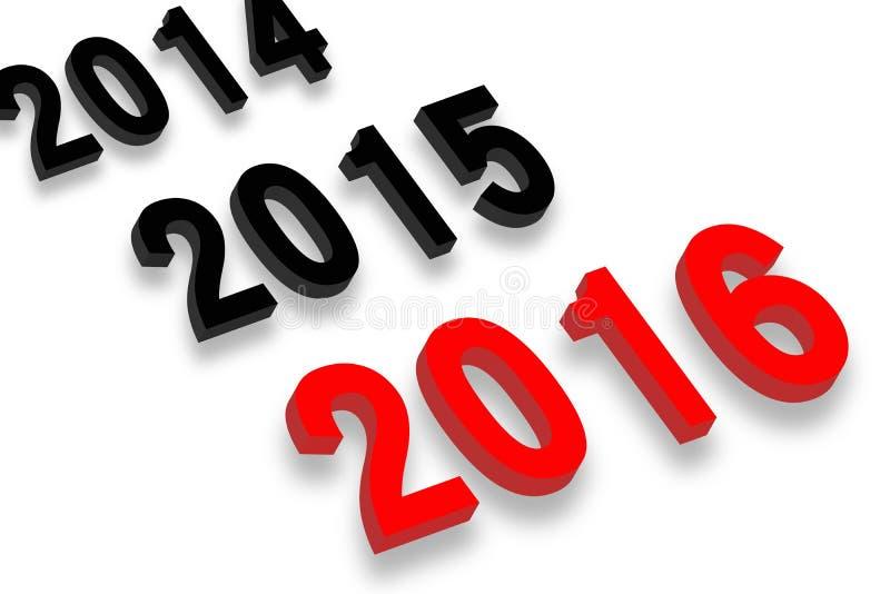 År 2016 framåt stock illustrationer