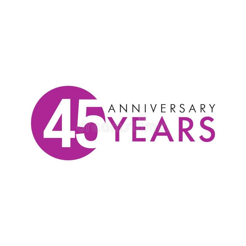 45 år gammal rund logo royaltyfri illustrationer