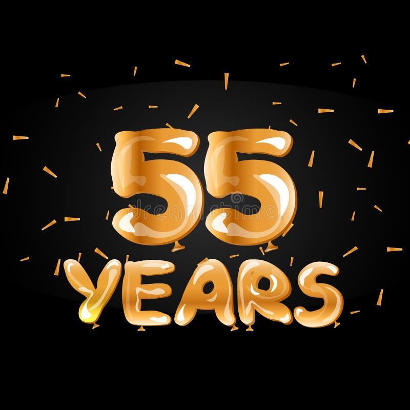 55 år guld- årsdaglogoberöm vektor illustrationer