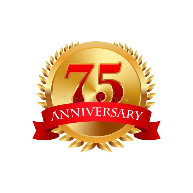 75 år guld- etikett för årsdag med band royaltyfri illustrationer