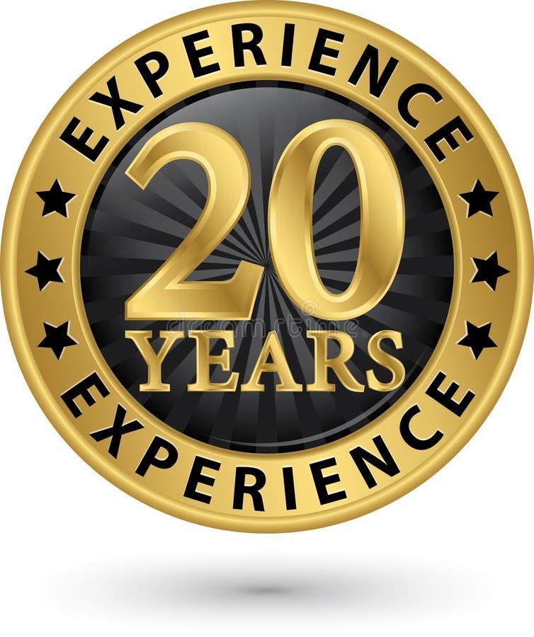 20 år guld- etikett för erfarenhet, vektorillustration vektor illustrationer