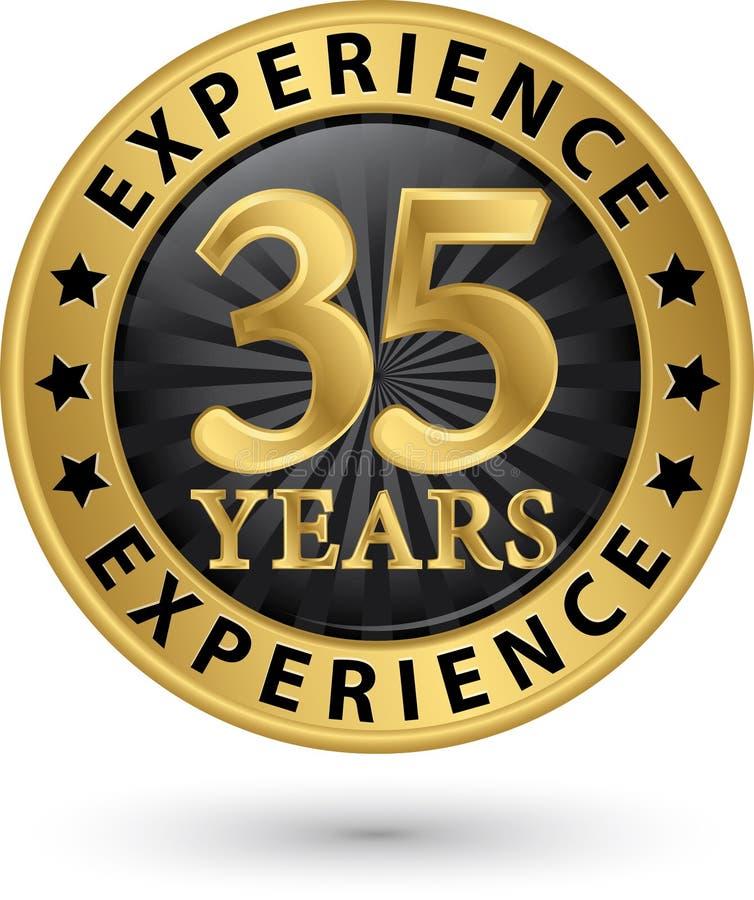35 år guld- etikett för erfarenhet, vektorillustration royaltyfri illustrationer