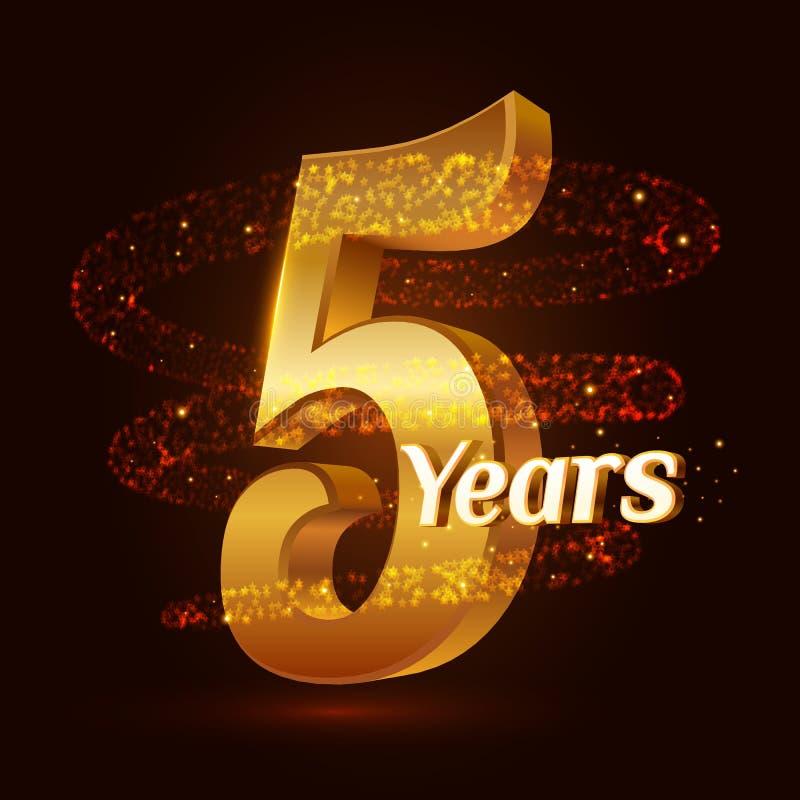 5 år guld- logoberöm för årsdag 3d med guld- blänka mousserande partiklar för spiral slinga för stjärnadamm Fem år anniver stock illustrationer