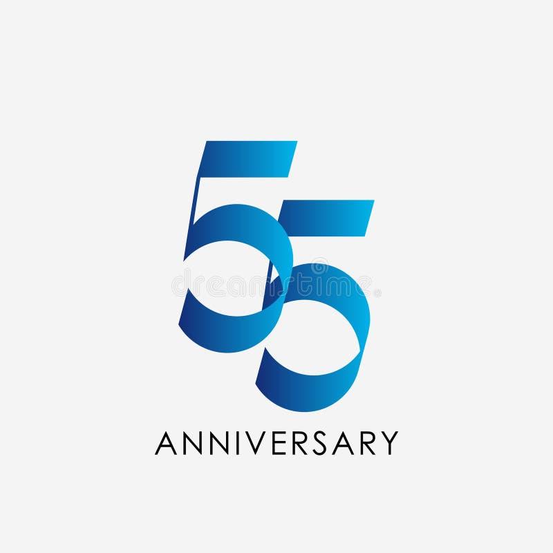 55 år illustration för design för mall för årsdagberömvektor royaltyfri illustrationer