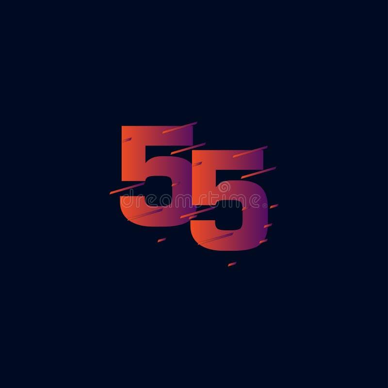55 år illustration för design för mall för årsdagberömvektor vektor illustrationer